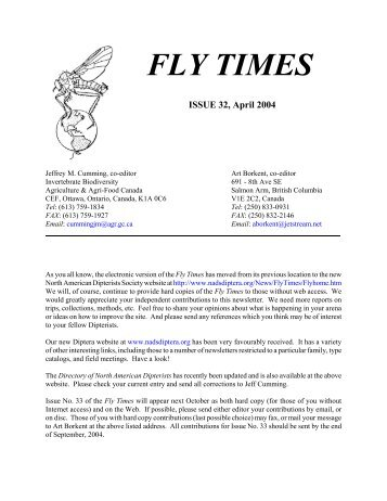 Fly Times Issue 32, April 2004 - North American Dipterists Society