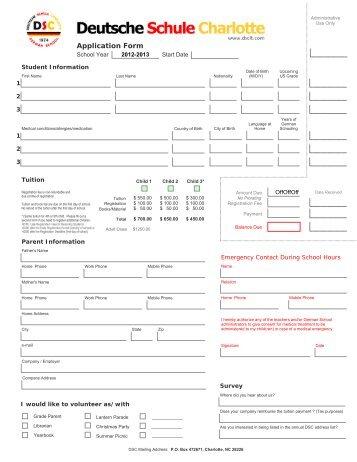 Application Form - Deutsche Schule Charlotte