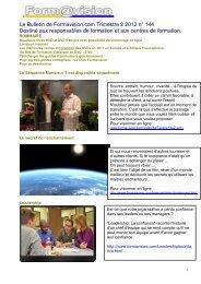 Le Bulletin de Formavision.com Trimestre 2 2012 n° 144 Destiné ...