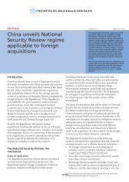 29844, China unveils National Security Review regime ... - Freshfields