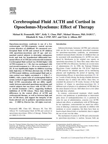CSF ACTH and Cortisol - OMSUSA.ORG