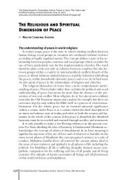 The Religious and Spiritual Dimension of Peace - Pontifical ...