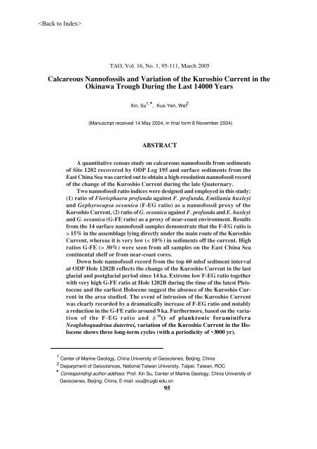 Calcareous Nannofossils and Variation of the Kuroshio Current in ...