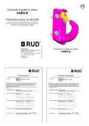 Crochets à godet à visser VABH-B Instructions pour la sécurité - RUD