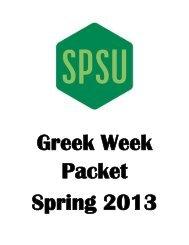 SPSU Greek Week 2013 Schedule