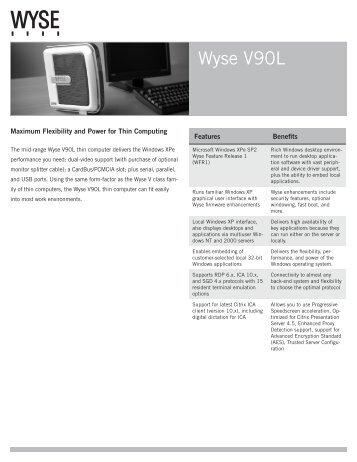 Wyse V90L Datasheet - Wyse Outlet Store