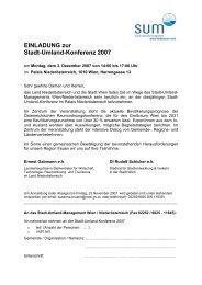 Programm - Stadt-Umland Management