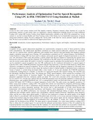 Performance Analysis of Optimization Tool for Speech ... - ijcer