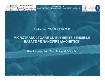 microtraductoare cu elemente sensibile bazate pe nanofire magnetice