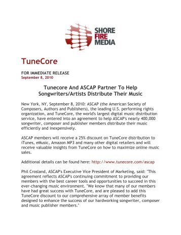 Tunecore And ASCAP Partner To Help Songwriters/Artists Distribute ...