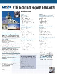 NTIS Technical Reports Newsletter - National Technical Information ...