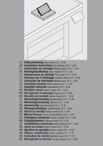 Installation Instructions Solar Module 24 V / 12 W Instrucciones de ...