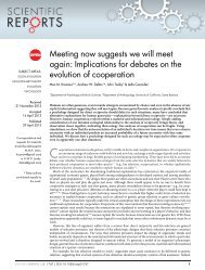 Meeting now suggests we will meet again - Center for Evolutionary ...