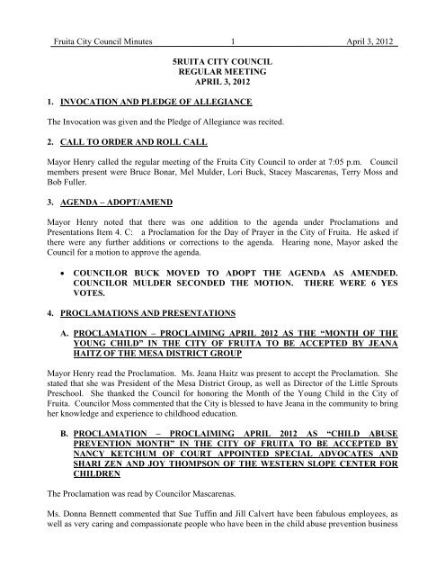 Fruita City Council Minutes 1 April 3, 2012 5RUITA ... - City of Fruita