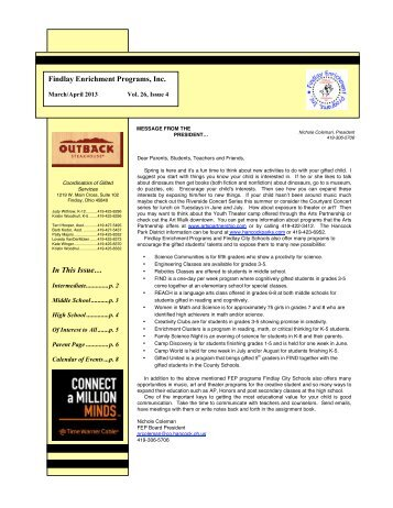 Gifted Newsletter - April, 2013 - Findlay City Schools