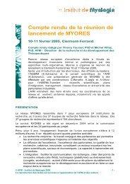 Compte rendu de la réunion de lancement de MYORES - Institut de ...