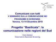"""Progetto """"Basilicata"""" - Osservatorio Nazionale Screening"""