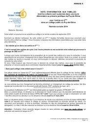 annexe A note famille - Académie de Clermont-Ferrand
