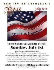 Sunday, July 1st - Our Savior Lutheran Church