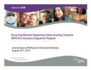 NPSTAT - Central East Local Health Integration Network