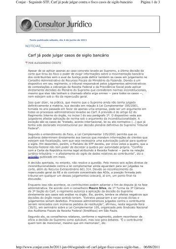 Carf já pode julgar casos de sigilo bancário - Bichara, Barata ...