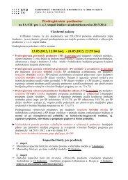 PREDREGISTRÁCIA PREDMETOV na 2013/2014