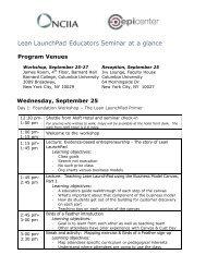 Sept LLP Eductators 2013 Schedule - NCIIA