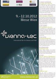 9. – 12.10.2012 Messe Wien - VIENNA-TEC 2012