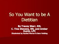 So You Want to be A Dietitian