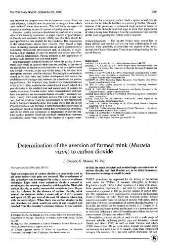 (Mustela vison) to carbon dioxide - Atrium
