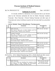 Fees for marks transcript - Pravara Institute of Medical Sciences