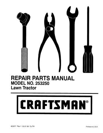 REPAIR PARTS MANUAL MODEL NUMBER 96142008601 Rotary