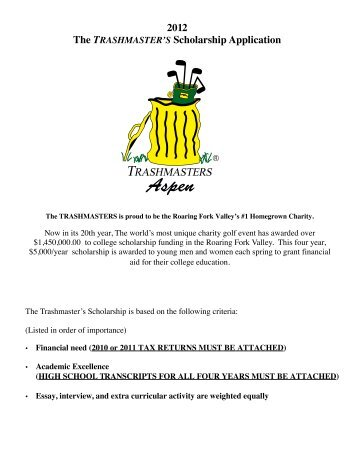 The Trashmasters Scholarship Fund Application