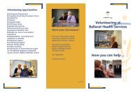 Why volunteer? - Ballarat Health Services
