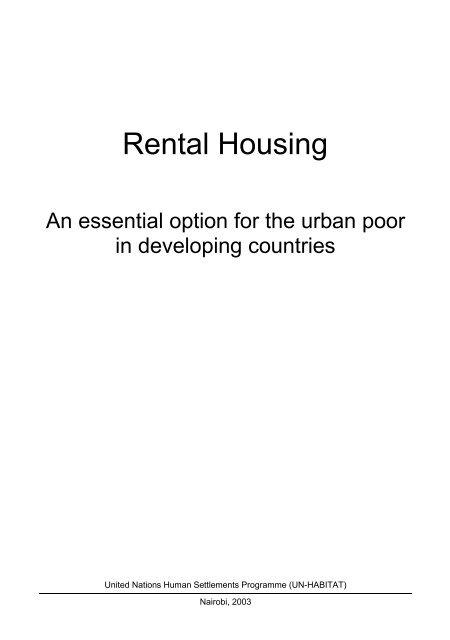 Rental Housing Un Habitat