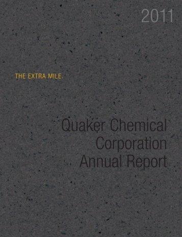 2011 Annual Report/10-K - Quaker Chemical Corporation