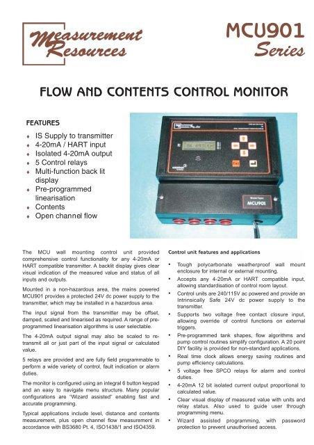 MCU901 Flow and Contents Control - Measurement Resources
