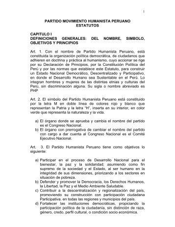 Estatuto del Partido Humanista Peruano - JNE - Jurado Nacional de ...