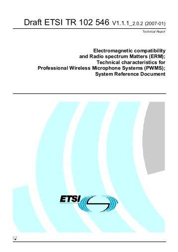 Draft ETSI TR 102 546 V1.1.1_2.0.2 (2007-01) - Cept
