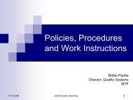 Policies, Procedures and Work Instructions