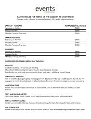 RATE SCHEDULE FOR RENTAL OF THE MANSION ... - Strathmore