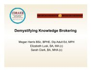 What is knowledge brokering? - Canadian Dementia Resource and ...