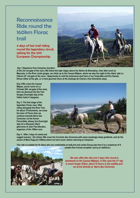Reconnaissance Ride round the 160km Florac trail - bei ...