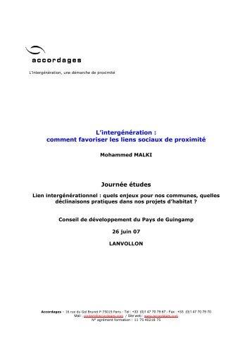 Communication Mohammed Malki. 26 juin 2007 - Pays de Guingamp