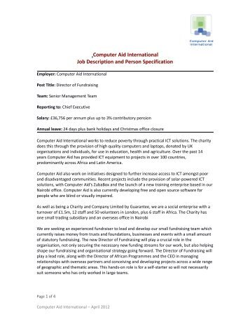 Computer Aid International Job Description and Person Specification