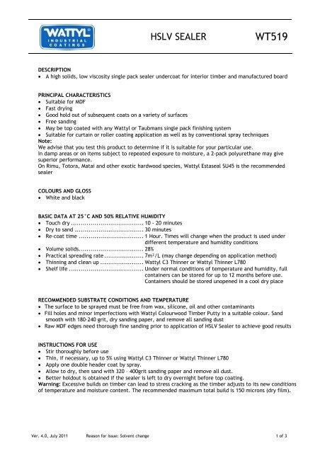HSLV SEALER - Wattyl Web Customer Service