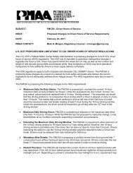 SUBJECT: FMCSA –Driver Hours of Service ISSUE: Proposed ...