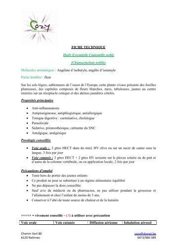 FICHE TECHNIQUE Huile Essentielle Camomille ... - COZY Belgique