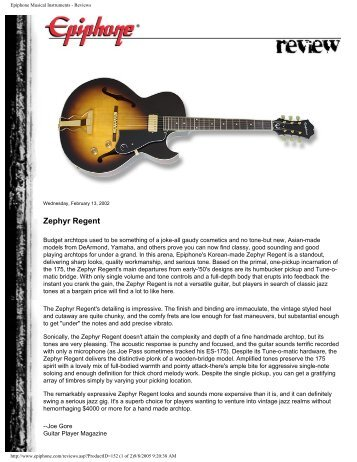 Epiphone Musical Instruments - Reviews