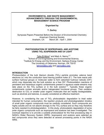 Photooxidation of isopropanol and acetone using TiO - Climate and ...